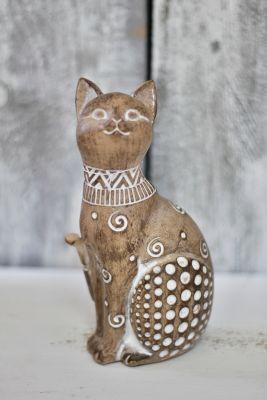 Mačka hnedá polyresin 19,5cm