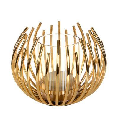 Zlatý svietnik kovový 12x10 cm