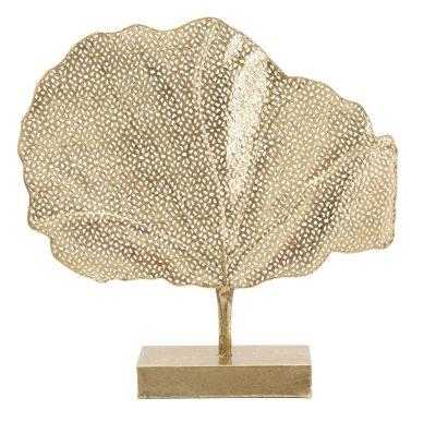 Dekorácia zlatý list GLAM, 55x10x56 cm