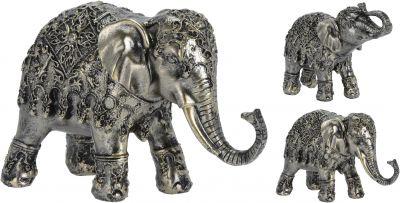Slon polyresin 12cm strieborný