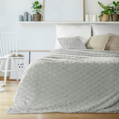 Prehoz na posteľ ROSALIA 220x240cm strieborný