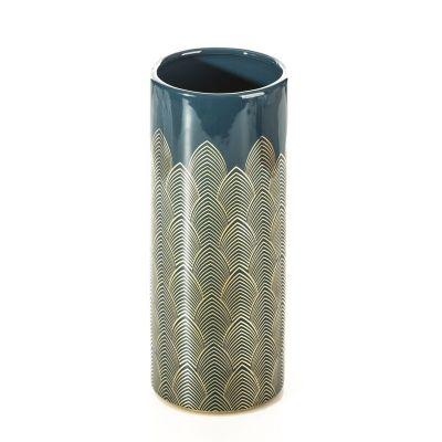 Váza MAYRA 1, 10x10x26 cm modrá zlatá