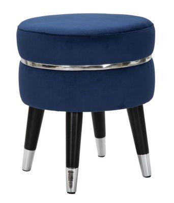 Taburetka Paris, kráľovská modrá/strieborná Ø35X40,5 cm
