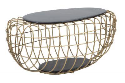 Konferenčný stolík, kovový zlatý 119x75x55 cm