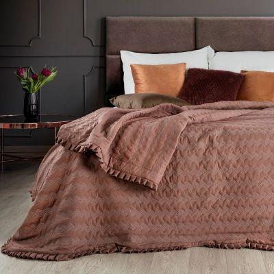 Prehoz na posteľ PAMELA 220x240cm hnedý
