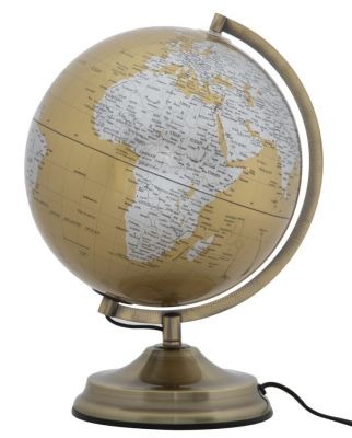 Lampa bronzový glóbus, tmavožltý Ø25x38 cm