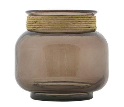 Sklenená váza s povrazom 20x18 cm