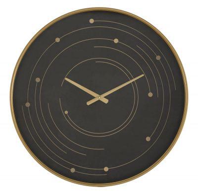 Nástenné hodiny, čierna/zlatá  Ø60x6 cm