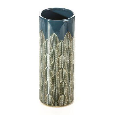 Váza MAYRA 2, 11x11x31 cm modrá zlatá