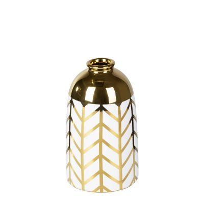 Váza BENY 3, 9x15 cm bielo-zlatá