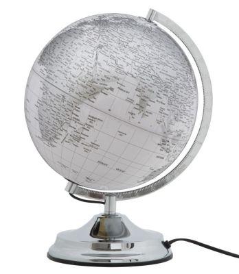 Lampa strieborný glóbus, biely Ø25x38 cm