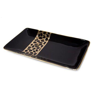 Dekoračný tanier MADLEN 2, 35x20x4 cm, čierna-zlatá