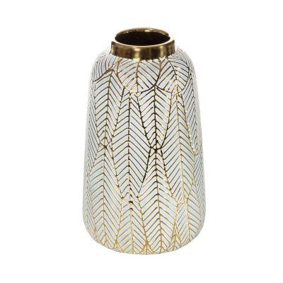 Váza ALIA 1,  16.5x16.5x27 cm,  zlatá biela
