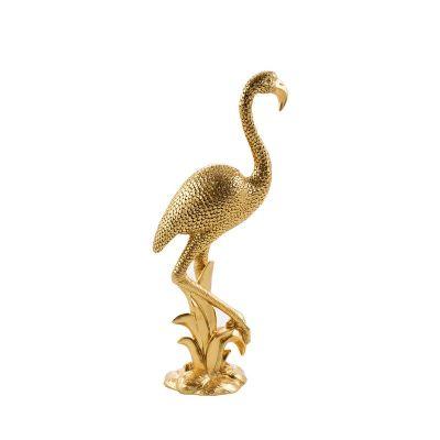 Zlatá ozdobná figúrka plameniak 14, 16x10x36 cm