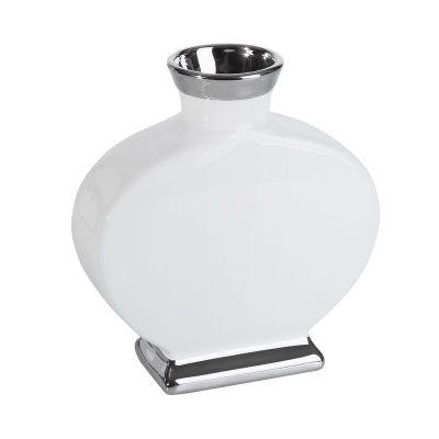 Váza EMMY 01 / 25x10x27cm biela+strieborná