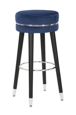 Barová stolička modrá/strieborná Ø35x74 cm