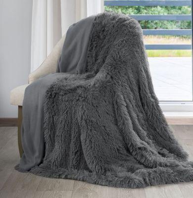 Plyšová prikrývka LETTIE, 200x220 cm sivá
