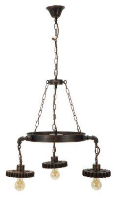 Stropná lampa s ozubenými kolesami 3 svetlá  Ø 54x104cm
